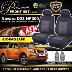 FRONT Premium BLACK Seat Covers Nissan Navara D23 NP300 ST ST-X RX  5/2016-20