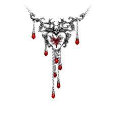 Alchemy Gothic Bleeding Heart Red Swarovski Crystal Enamel Pewter Necklace