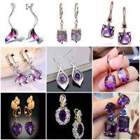 Amethyst 925 Silver Ear Hook Drop Dangle Earrings Women Wedding Jewelry Party