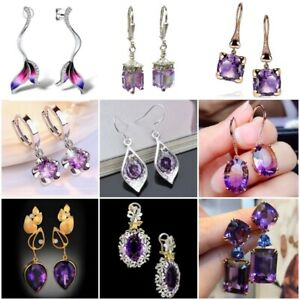 Amethyst 925 Silver Ear Hook Drop Dangle Earrings Women Wedding Jewelry Party