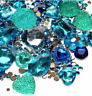 Mermaid Blue Flat back Rhinestone Gem Mix Lot Assorted Jewel Crystal Faceted AB