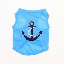 """New listing Blue Anchor Navy Puppy Pet Dog T-Shirt Clothes Size 16"""" Chest 11"""" Length Medium"""