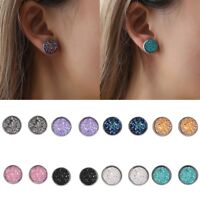 Women Druzy Earrings Natural Stone Quartz Silver Plated Small Ear Stud Jewelry