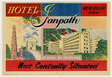 Hotel Janpath NEW DELHI India Indien * Old Luggage Label Kofferaufkleber
