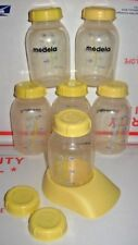 Lot (6) Medela Breast Milk Collection Storage Baby Bottles (5/oz) w/Lids + Stand