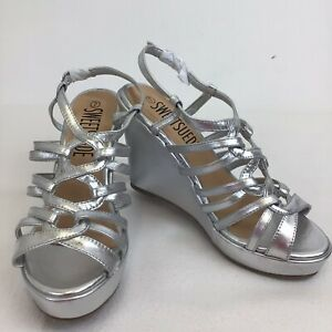 Sweetsuede Size 7 Silver Wedge Heels Womens Shoes Party Strappy Ladies