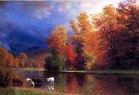 Autumn landscape Oil painting Albert Bierstadt cows drinking water On the Saco