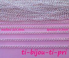 LOT de 4 mètres CHAINES gourmette chainettes 3 x 2 x 0,5mm ARGENTE perles bijoux