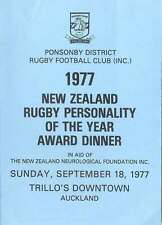 NZ Rugby Personality of the Year 18 Sep 1997 Dinner Menu Card, Auckland