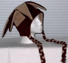 NEW fleece jester snowboarding hat - brown & tan w/ties