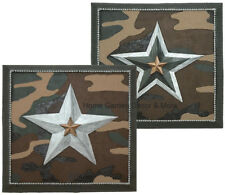 SET of 2 CAMO 3D WALL ART Plaque Camouflage Stars OLIVE SILVER Green Brown