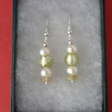 Earrings With Rutile Jade  Pearls And Murano Gems 3 Cm. Long + 925 Silver Hooks