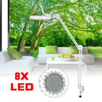LED Desk Table Clamp Mount 8X Magnifier Lamp Light Magnifying Glass Lens Diopter