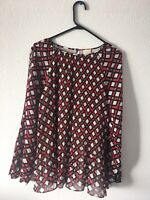 Chicos Size 3 Women's  Red/Black Blouse