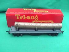 TRIANG R.212 BOGIE BOLSTER WAGON WITH LOG LOAD IN BOX EXCELLENT