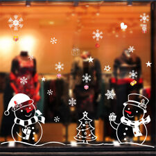 Shop Window Glass Background Decor Christmas Snowman and Tree Wall Sticker PT