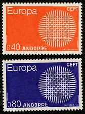 1970 French Andorra Sc #196-197 EUROPA set Mint Never Hinged; SCV $20.00