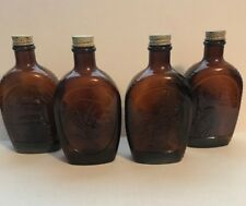 Log Cabin Syrup Lot of 4 Brown Bottles Indian, 1776 Bell, Lady Liberty, 1776