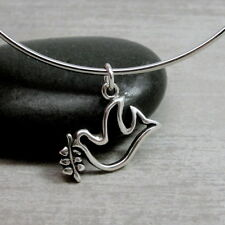 925 Sterling Silver Peace Dove Outline with Olive Branch Charm Pendant