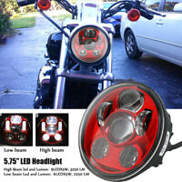 """Red 5.75"""" 5 3/4 LED Motorcycle Headlight for Harley Dyna Sportster XL1200 883 48"""