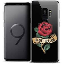 "Coque Crystal Gel Pour Samsung Galaxy S9 (5.8"") Souple Tatoo Lover Red Rose"