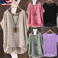 US Women Summer T-Shirt Casual Plain Loose Blouse Shirt Batwing Asymmetrical Top