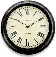 "45cm Traditional ""Roger Lascelles"" Black Station Wall Clock"