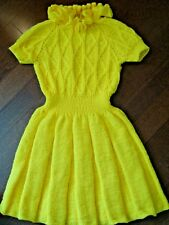 Girl's Dress Handknitted sz 7-8 Ruffled Sweater-Dress Bright-Yellow, brand new