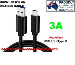 USB 3.1 TYPE C BLACK 1mt PREMIUM BRAIDED FAST CHARGE DATA CABLE 3A FOR GOOGLE