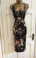 Womens New Black Floral Midi Party Bodycon Occasion Pencil Dress Sz 8 - 16