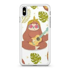 Guitar Playing Adorable Sloth Animal Exotic Tropical Leaves Phone Case Cover