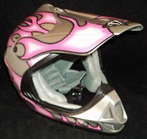 Vega Viper Jr size L large pink w/ silver flames girl Dirtbike Riding Helmet NEW