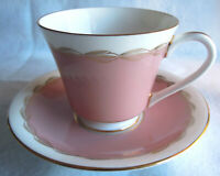English Bone China Aynsley Cup and Saucer - Rose Pink/ Off-white/ Shiny Gold
