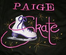 Personalised Ice Skate Design Hoodie embroidered front & back. Child Sizes