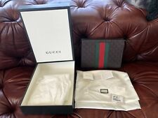 $1255 GUCCI BROWN GG SIGNATURE LEATHER WEB STRIPE CLUTCH TOILETRY POUCH BAG CASE