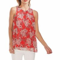 VINCE CAMUTO NEW Women's Floral-print Pleat-neck Blouse Shirt Top TEDO