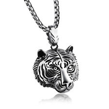 Men's  Titanium steel Element Tiger Necklace White