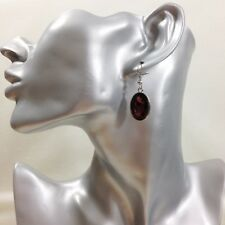 Womens Pierced Earrings Burgundy Glass Faceted Oval Pendant Silver Tone