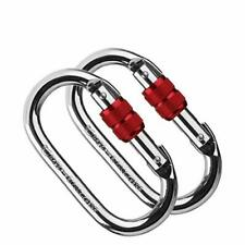 W520 2 Pack Climbing Carabiner25KN=5600 lb O-Shaped Super Strength Steel Scre...
