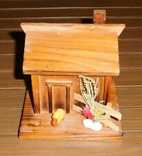 Vintage Wood Piggy Bank w/ Key - Bird Duck Coop