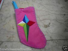 NEW !  Christmas Mini Christmas Star Stockings Holiday Decorations Pink Color