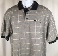 Vtg 90s Authentic Cheers Boston Mens L Polo Shirt Plaid Combed Cotton USA Made