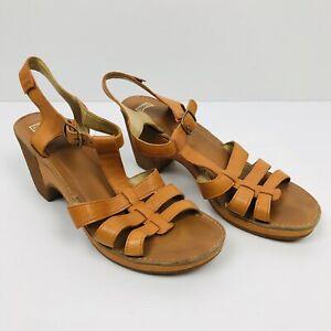 CAMPER Womens Orange Tiramisu Leather Ankle Strap Wedge Heel Sandals Size 41