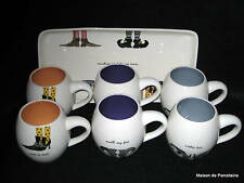 RAE DUNN MAGENTA, INC HALLOWEEN WITCH SHOES TRAY AND 6 MUGS 3 DESIGNS *FLAWS*