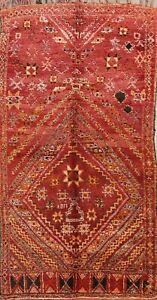 Vintage Handmade Authentic Moroccan Berber Oriental Area Rug Vegetable Dye 6x11