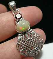 Beautiful STERLING SILVER Real Fire OPAL Gem Stone Celtic Necklace PENDANT