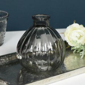 small round smoked grey ribbed glass bottle bud vase decorative home decor gift