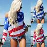Women American Flag Print Summer Camis Long Sleeve Tank Tops Blouse Loose Shirt