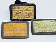 3 Vintage 1949-50 California Hunting License, Angling Tags San Diego, Ca