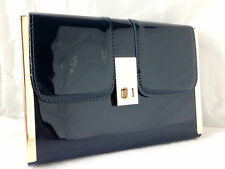 NEW LIME GREEN NUDE NAVY BLUE YELLOW CORAL FAUX PATENT LEATHER CLUTCH BAG PROM